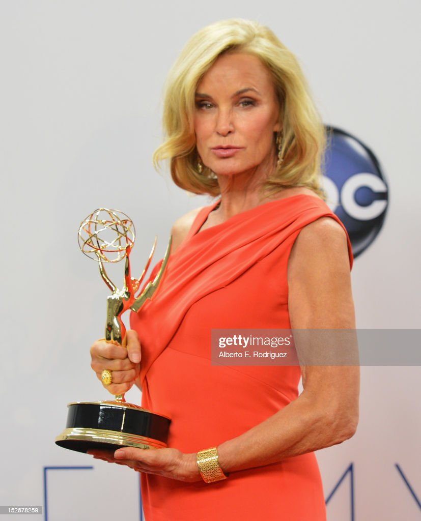 Actress Jessica Lange poses in the 64th Annual Emmy Awards press room at Nokia Theatre L.A. Live on September 23, 2012 in Los Angeles, California.