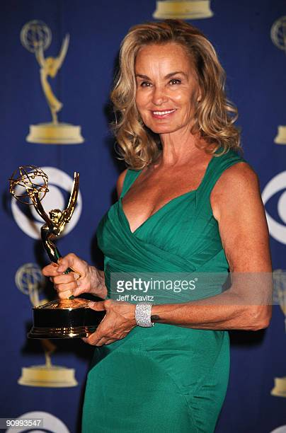 Actress Jessica Lange poses in the press room at the 61st Primetime Emmy Awards held at the Nokia Theatre on September 20 2009 in Los Angeles...