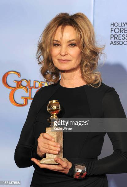 Actress Jessica Lange poses in the press room with the Best Performance by an Actress in a Supporting Role in a Series MiniSeries or Motion Picture...