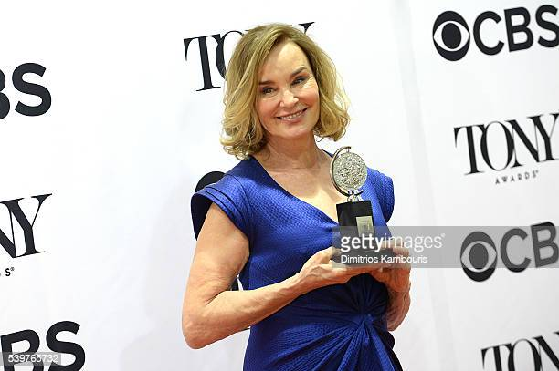 Actress Jessica Lange poses with her award for Best Performance by an Actress in a Leading Role in a Play the 70th Annual Tony Awards at The Beacon...