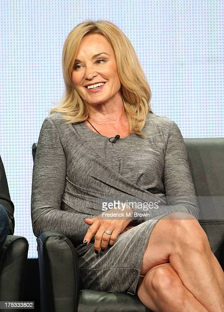 Actress Jessica Lange speaks onstage during the American Horror Story Coven panel discussion at the FX portion of the 2013 Summer Television Critics...