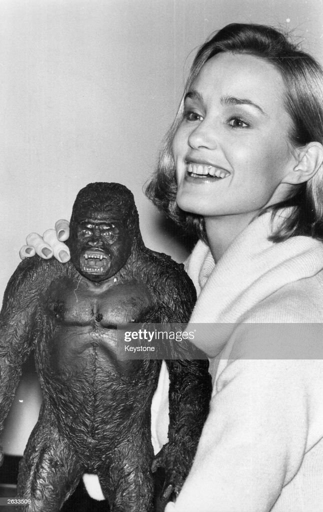 Actress Jessica Lange with the model of King Kong, at the time she was playing Dwan in the film, 'King Kong'.