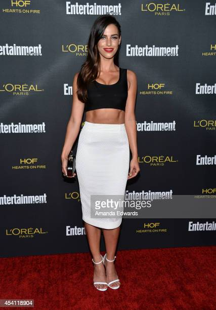 Actress Jessica Lowndes arrives at the 2014 Entertainment Weekly PreEmmy Party at Fig Olive Melrose Place on August 23 2014 in West Hollywood...