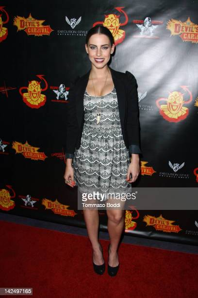 Actress Jessica Lowndes attends The Devil's Carnival Los Angeles premiere held at the Laemmle's Royal Theatre on April 5 2012 in Los Angeles...