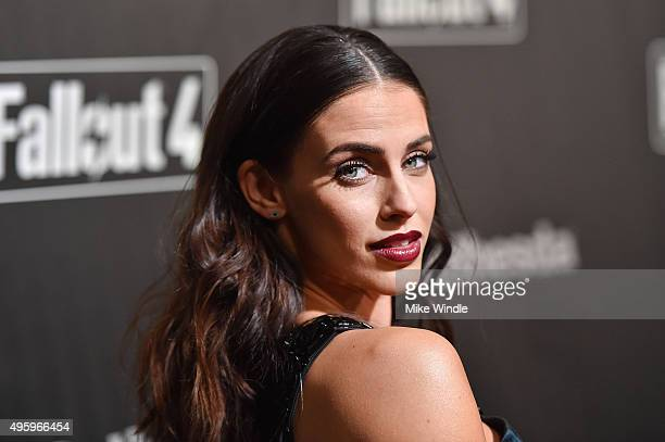 Actress Jessica Lowndes attends the Fallout 4 video game launch event in downtown Los Angeles on November 5 2015 in Los Angeles California