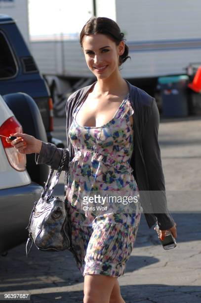 Actress Jessica Lowndes on location for 90210 on February 3 2010 in Hollywood California
