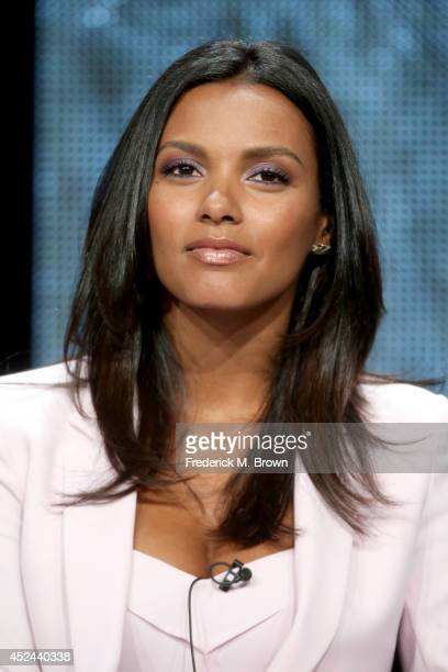 Actress Jessica Lucas speaks onstage at the 'Gracepoint' panel during the FOX Network portion of the 2014 Summer Television Critics Association at...