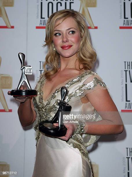 Actress Jessica Marais poses with the award for Most Popular New Female Talent during the 51st TV Week Logie Awards at the Crown Towers Hotel and...