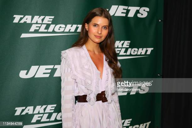 Actress Jessica Markowski poses for photos on the green carpet at the New York Jets New Uniform Unveiling on April 4 2019 at Gotham Hall in New York...