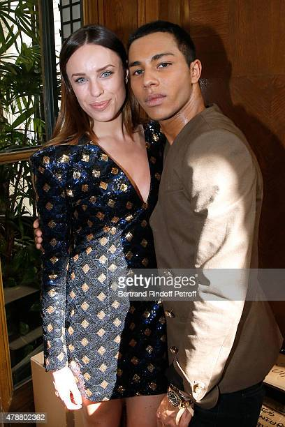 Actress Jessica McNamee and Fashion Designer Olivier Rousteing pose Backstage after the Balmain Menswear Spring/Summer 2016 show as part of Paris...