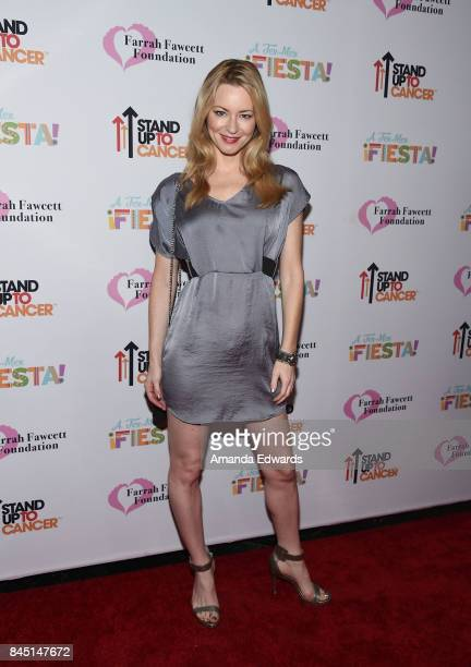Actress Jessica Morris arrives at the Farrah Fawcett Foundation's TexMex Fiesta event honoring Stand Up To Cancer at the Wallis Annenberg Center for...
