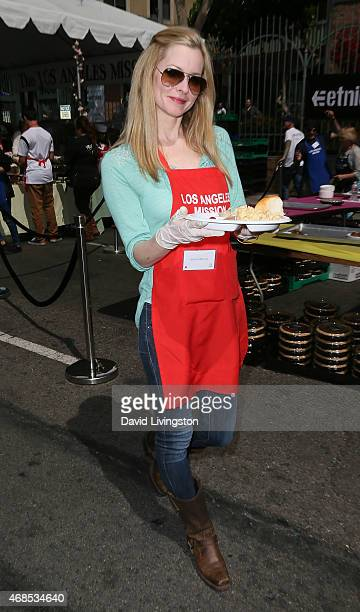 Actress Jessica Morris attends the Los Angeles Mission Easter event at the Los Angeles Mission on April 3 2015 in Los Angeles California