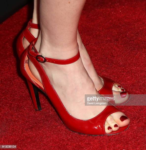 Actress Jessica Morris shoe detail attends the premiere of Living Among Us at Ahrya Fine Arts Theater on February 1 2018 in Beverly Hills California