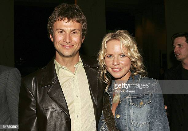 Actress Jessica Napier and an unidentified guest attend the red carpet premiere of Little Fish at the Dendy Opera Quays on September 5 2005 in Sydney...