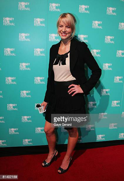 Actress Jessica Napier attends the opening gala night and premiere of 'HappyGoLucky' during the 55th Sydney Film Festival at the State Theatre on...