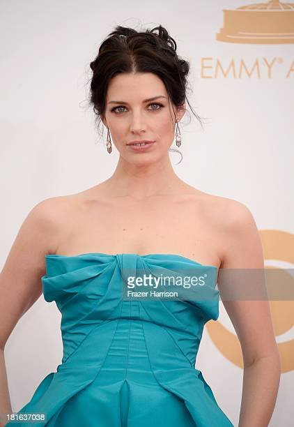 Actress Jessica Pare arrives at the 65th Annual Primetime Emmy Awards held at Nokia Theatre LA Live on September 22 2013 in Los Angeles California