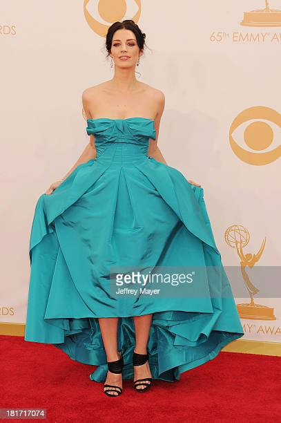 Actress Jessica Pare arrives at the 65th Annual Primetime Emmy Awards at Nokia Theatre LA Live on September 22 2013 in Los Angeles California