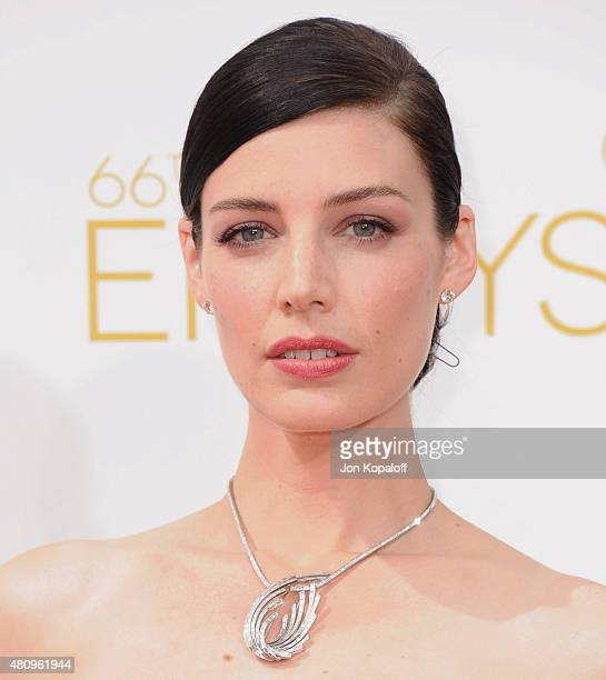 Actress Jessica Pare arrives at the 66th Annual Primetime Emmy Awards at Nokia Theatre LA Live on August 25 2014 in Los Angeles California