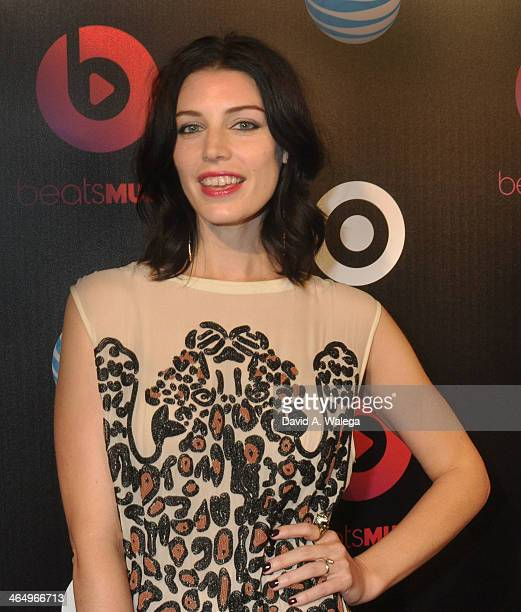 Actress Jessica Pare arrives at the Beats Music Official Launch Party from Beats by Dr Dre at Belasco Theatre on January 24 2014 in Los Angeles...
