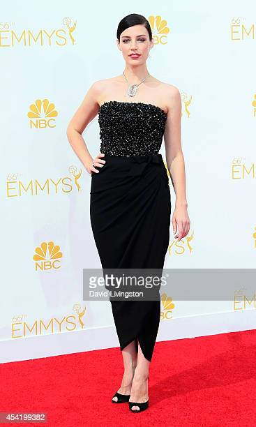 Actress Jessica Pare attends the 66th Annual Primetime Emmy Awards at the Nokia Theatre LA Live on August 25 2014 in Los Angeles California