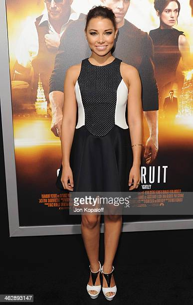 Actress Jessica Parker Kennedy arrives at the Los Angeles Premiere Jack Ryan Shadow Recruit at TCL Chinese Theatre on January 15 2014 in Hollywood...