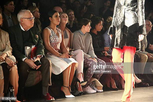 Actress Jessica Pimentel Whitney Port baker Amirah Kassem and actress Selenis Leyva attend the Bibhu Mohapatra Fall 2016 fashion show during New York...