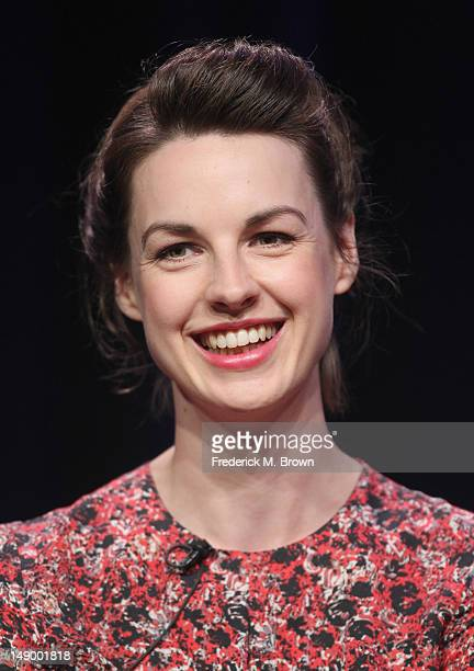 Actress Jessica Raine speaks onstage at the 'Call the Midwife' panel during day 1 of the PBS portion of the 2012 Summer TCA Tour held at the Beverly...
