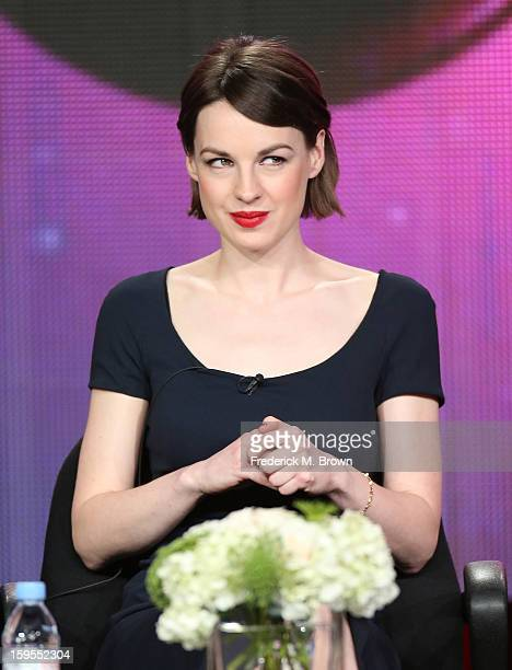 Actress Jessica Raine speaks onstage during the Call The Midwife panel discussion during the PBS Portion Day 2 of the 2013 Winter Television Critics...