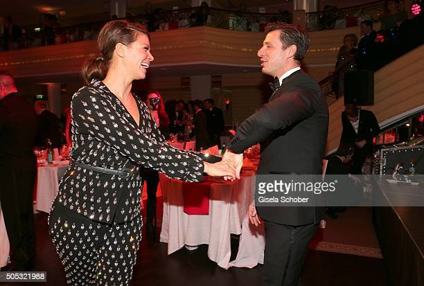 Actress Jessica Schwarz and boyfriend Markus Selikovsky dance during the German Film Ball 2016 party at Hotel Bayerischer Hof on January 16 2016 in...