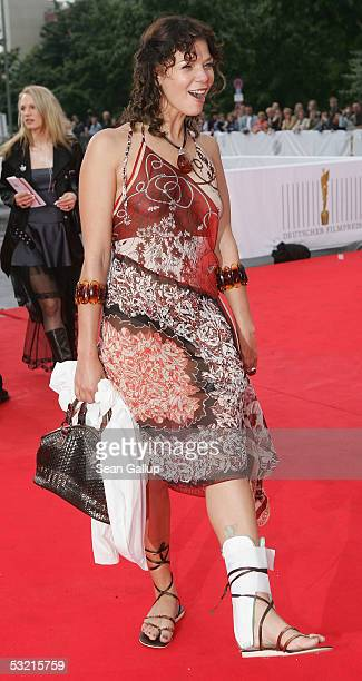 Actress Jessica Schwarz arrives with an injured ankle at the Deutscher Filmpreis the German Film Awards on July 8 2005 at the Philharmonic in Berlin...