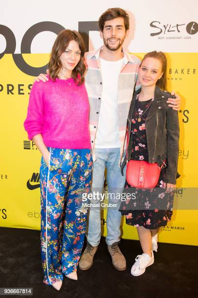 Actress Jessica Schwarz Singer Alvaro Soler and Actress Sonja Gerhardt during the Launch POP event on the occasion of the 20th anniversary of the...