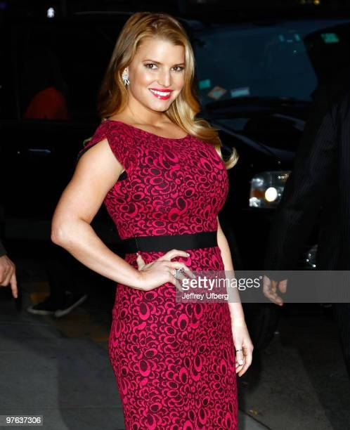 Actress Jessica Simpson visits Late Show With David Letterman at the Ed Sullivan Theater on March 10 2010 in New York City