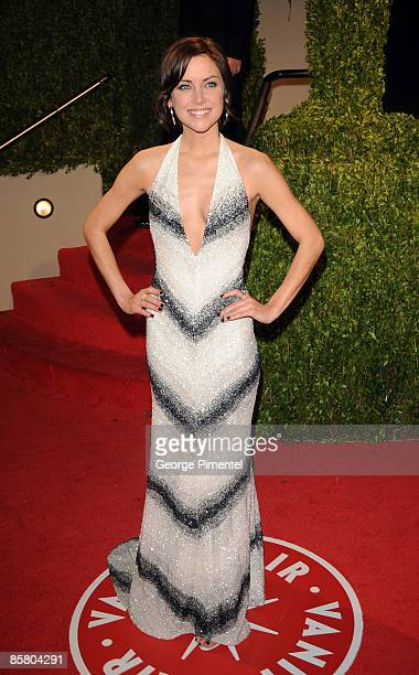 Actress Jessica Stroup arrives at the 2009 Vanity Fair Oscar Party Hosted By Graydon Carter at the Sunset Tower on February 22 2009 in West Hollywood...