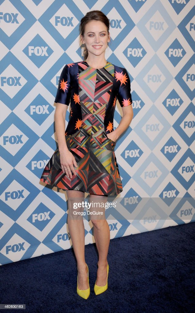 Actress Jessica Stroup arrives at the 2014 TCA winter press tour FOX all-star party at The Langham Huntington Hotel and Spa on January 13, 2014 in Pasadena, California.