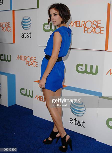 Actress Jessica Stroup arrives at the 'Melrose Place' Premiere Party at Melrose Place on August 22 2009 in Los Angeles California