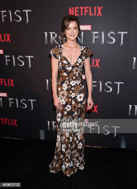 "Actress Jessica Stroup attends Marvel's ""Iron Fist"" New York screening at AMC Empire 25 on March 15, 2017 in New York City."