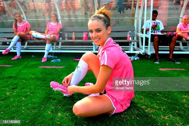 Actress Jessica Stroup attends the PUMA Project Pink Celebrity Soccer Matchon October 13 2012 in Fullerton California