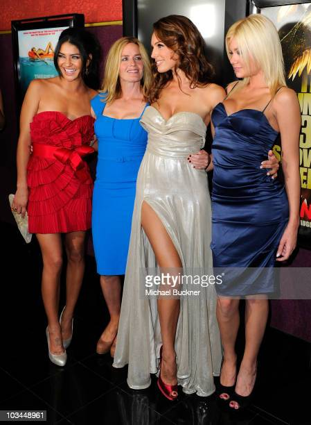 Actress Jessica Szohr actress Elisabeth Shue actress Kelly Brook and actress Riley Steele arrives at the premiere of The Weinstein Company's 'Piranha...