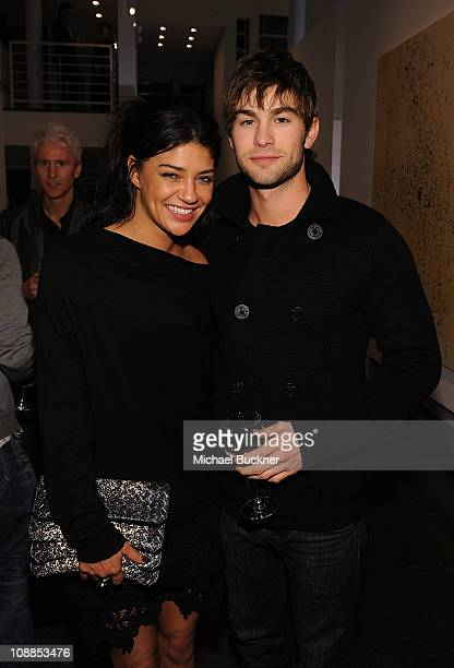 Actress Jessica Szohr and actor Chace Crawford attend a private dinner hosted by Audi during Super Bowl XLV Weekend at the Audi Forum Dallas on...