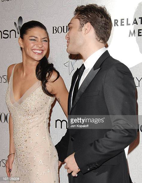 Actress Jessica Szohr and actor Ed Westwick arrive at The Art of Elysium's 3rd Annual BlackTie Charity Gala Heaven at 9900 Wilshire Blvd on January...