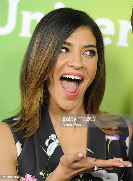 Actress Jessica Szohr arrives at NBCUniversal's 2015 Winter TCA Tour Day 1 at The Langham Huntington Hotel and Spa on January 15 2015 in Pasadena...