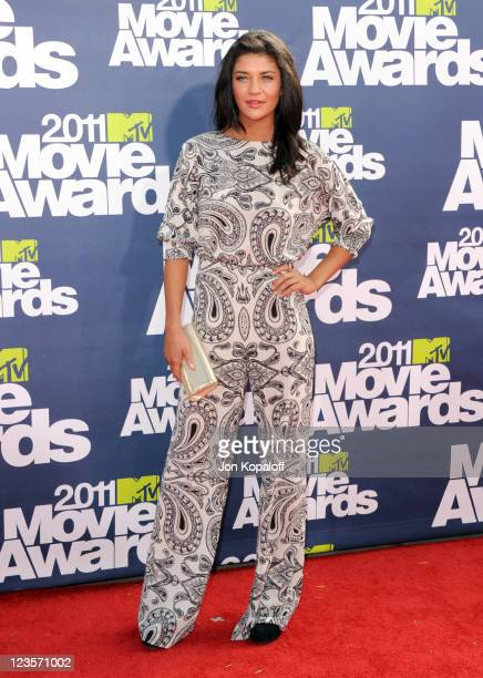 Actress Jessica Szohr arrives at the 2011 MTV Movie Awards at Gibson Amphitheatre on June 5 2011 in Universal City California