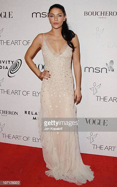 Actress Jessica Szohr arrives at The Art of Elysium's 3rd Annual BlackTie Charity Gala Heaven at 9900 Wilshire Blvd on January 16 2010 in Beverly...