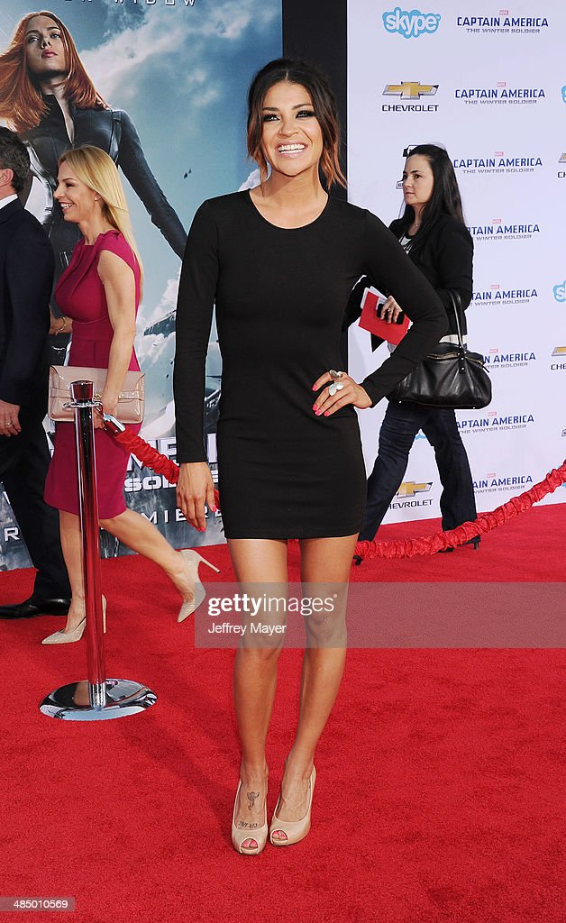 Actress Jessica Szohr arrives at the Los Angeles premiere of 'Captain America: The Winter Soldier' at the El Capitan Theatre on March 13, 2014 in Hollywood, California.
