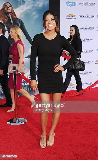 Actress Jessica Szohr arrives at the Los Angeles premiere of 'Captain America The Winter Soldier' at the El Capitan Theatre on March 13 2014 in...