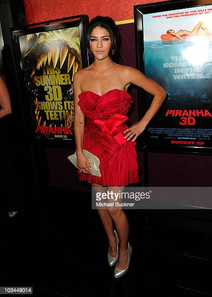 Actress Jessica Szohr arrives at the premiere of The Weinstein Company's Piranha 3D at the Mann's Chinese 6 Theatre on August 18 2010 in Hollywood...