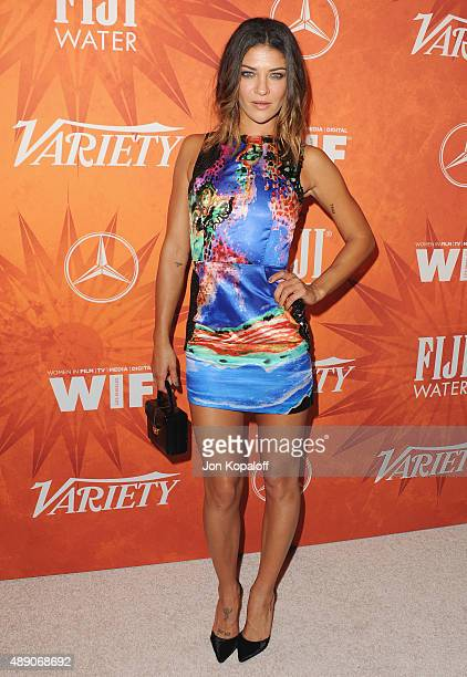 Actress Jessica Szohr arrives at the Variety And Women In Film Annual PreEmmy Celebration at Gracias Madre on September 18 2015 in West Hollywood...