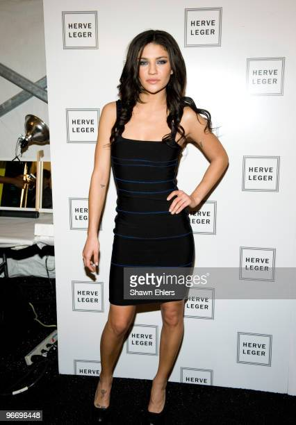 Actress Jessica Szohr backstage at the Herve Leger By Max Azria Fall 2010 fashion show during MercedesBenz Fashion Week at Bryant Park on February 14...
