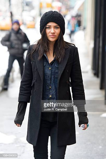 Actress Jessica Szohr is seen on the set of her show Gossip Girl on January 27 2011 in New York City