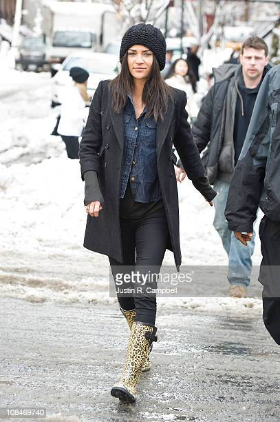Actress Jessica Szohr is seen on the set of her show 'Gossip Girl' on January 27 2011 in New York City